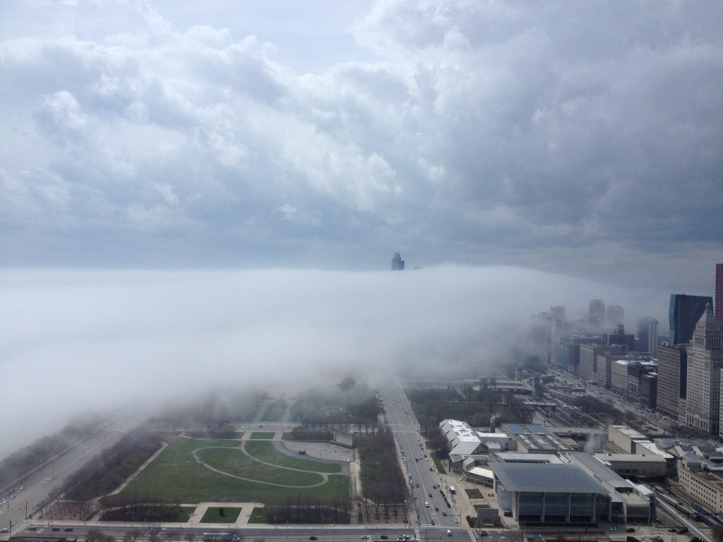 Fog monster creeping into downtown Chicago, 4.29.2014